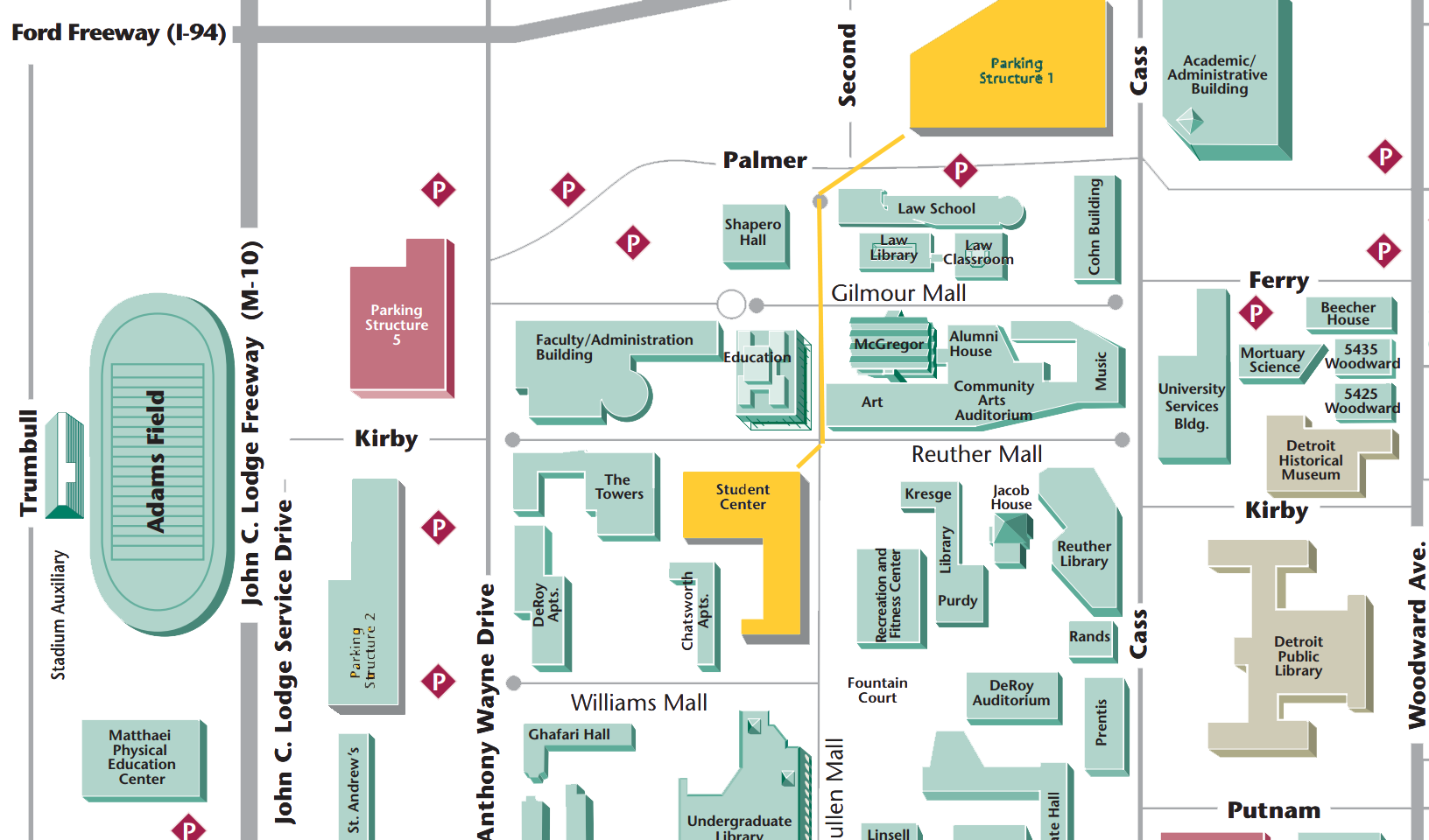 Wayne State Campus Map Directions and Parking   WSU Big Data & Analytics Summit